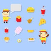 Pixel fastfood — Stock Vector