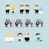 Pixel office — Stock Vector