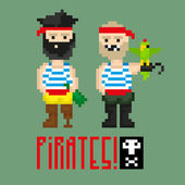 Pixel art pirates — Stock Vector