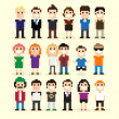 Pixel Art People — Stock Vector
