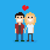 Pixel-kunst-paar — Stockvektor