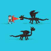 Pixel Dragons and warrior — Stock Vector