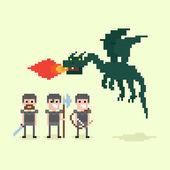 Pixel Dragon And Warriors — Stock Vector