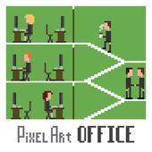Pixel Art Office — Stock Vector