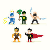 Pixel Superheroes — Stock Vector