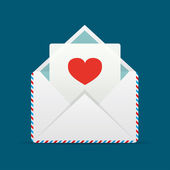 Envelope With Heart — Stockvektor