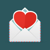 Envelope With Heart — Stok Vektör