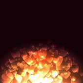 Gloeiende harten — Stockvector