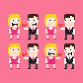 Pixel Art Couple — Stock Vector