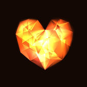 Background with transparent glowing fire heart — Stockvektor