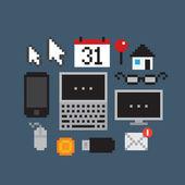 Pixel Art Icons — Stock Vector