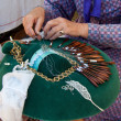 Hands making bobbin lace — Stockfoto #12094411