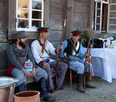 Fort Ross Bicentennial Weekend. Three men in russian settler — Stock Photo