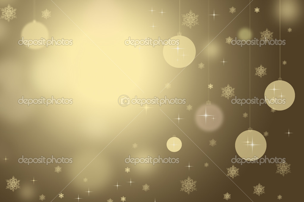 Gold Christmas background with snowflakes and balls. — Photo #16282687