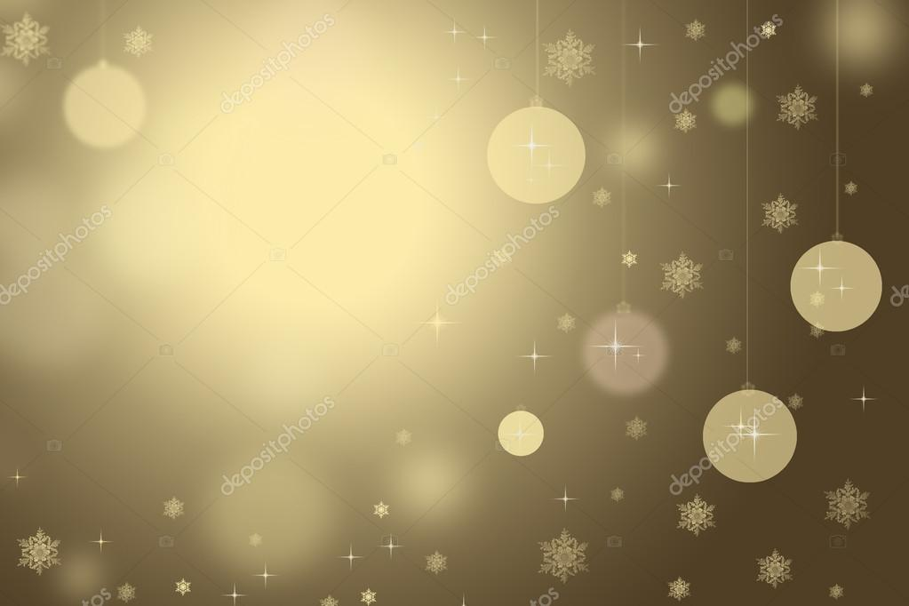 Gold Christmas background with snowflakes and balls. — Stock fotografie #16282687