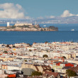 View from above of San Francisco and Alcatraz island - Stock Photo