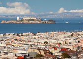 View from above of San Francisco and Alcatraz island — Stock Photo