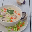 Clam chowder soup - Stock Photo