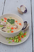 Clam chowder soup — Stock Photo