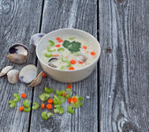 Clam chowder soup on old wood background — ストック写真