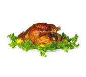 Whole roast stuffed chicken . Isolated. — Stock Photo