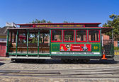 Empty cable car at Fisherman's Wharf station in San Francisco — Stockfoto