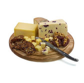 Cheese board with three cheeses and cheese knife on white backgr — Stock Photo