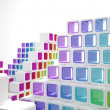 Conceptual modern building made of colored glass cubes — Stock Photo