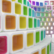 Conceptual modern building made of colored glass cubes — Stockfoto