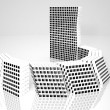 Stock Photo: Conceptual modern building made of monochrome glass cubes