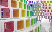 Edifício moderno conceitual feito de cubos de vidro colorido — Foto Stock