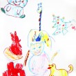 Child's drawing, animals — Stock Photo
