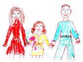 Happy family. watercolor drawing — Stock Photo