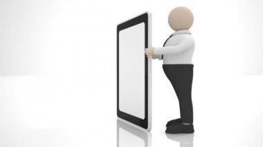 The clerk holding a large tablet PC. Insert your picture or icon on the tablet and the screen saver is ready — Stock Video