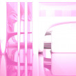 Abstract interior with pink glass and old tree — Lizenzfreies Foto