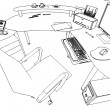 illustration of an outline sketch of a interior. 3D Graphical drawing interior  — Stock Photo