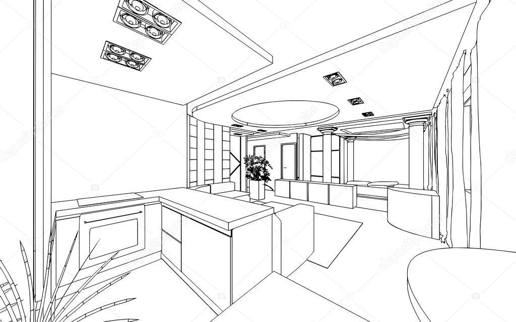 房子设计图平面图素描