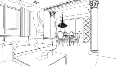Illustration of an outline sketch of a interior. 3D Graphical drawing interior — Stock Video