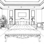 Classic bedroom interior designed in black and white graphics — Stock Photo #35533421