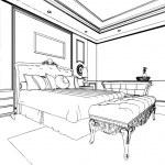 Classic bedroom interior designed in black and white graphics — Stock Photo #35533423