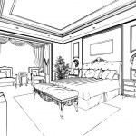 Classic bedroom interior designed in black and white graphics — Stock Photo #35533427