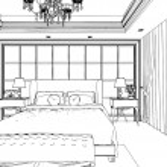 Classic bedroom interior designed in black and white graphics — Stock Photo #35535139