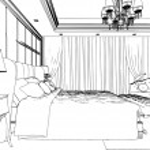 Classic bedroom interior designed in black and white graphics — Stock Photo #35535141
