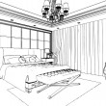 Classic bedroom interior designed in black and white graphics — Stock Photo #35535149