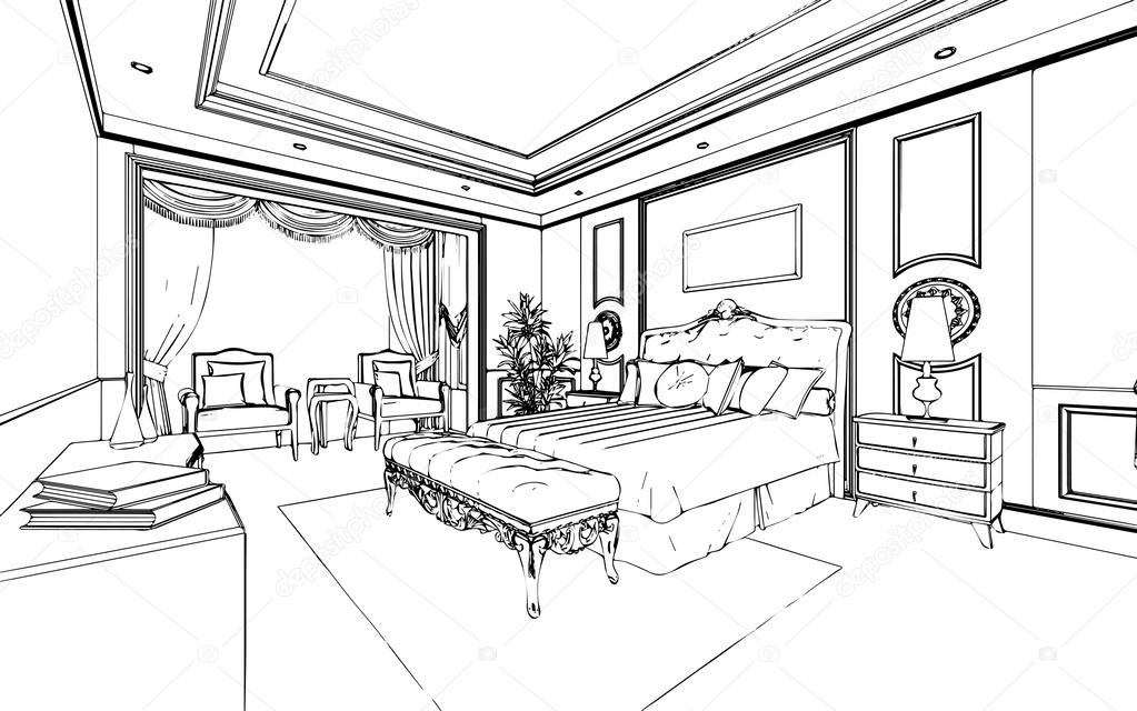Classic bedroom interior designed in black and white for Bedroom designs sketch