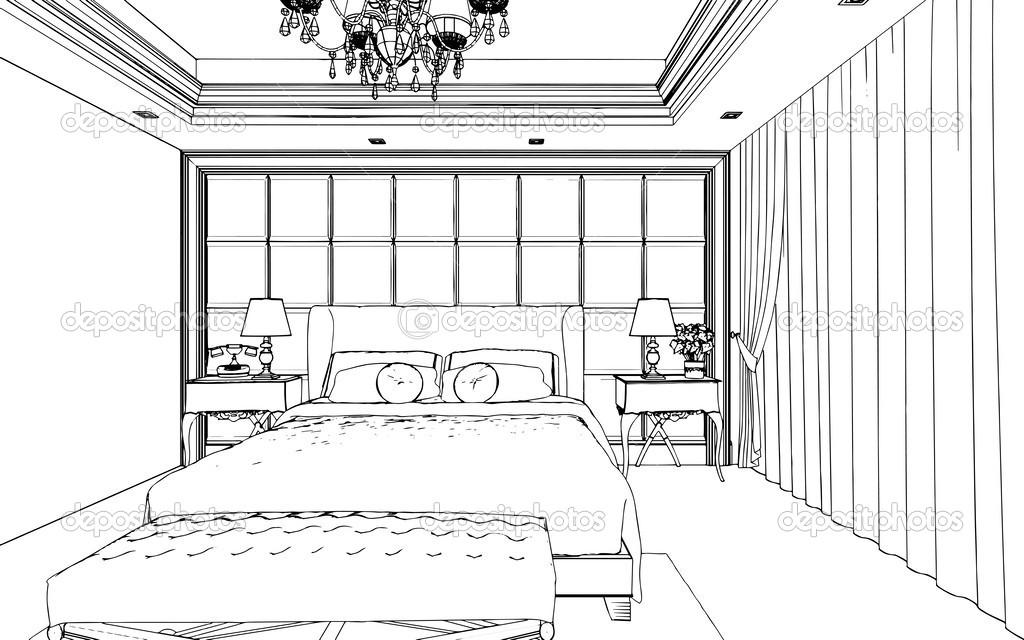 Int Rieur De Chambre Coucher Classique Con U Dans Les Graphiques En Noir Et Blanc