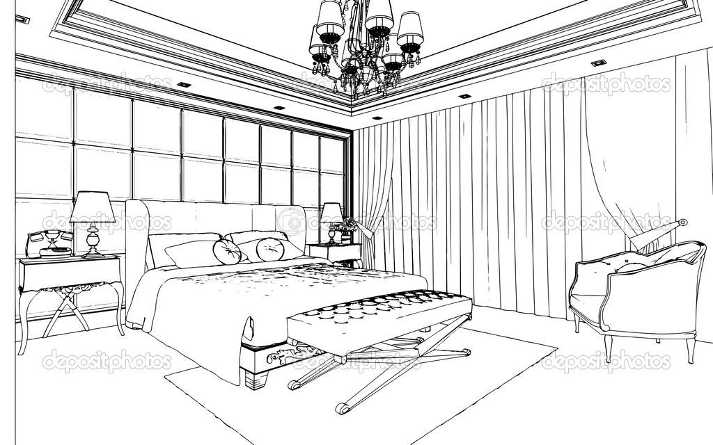 int rieur de chambre coucher classique con u dans les graphiques en noir et blanc. Black Bedroom Furniture Sets. Home Design Ideas