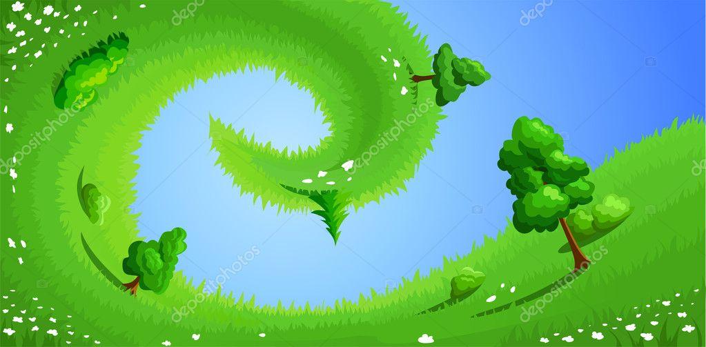 用草, 树木, 灌木和白花的超现实夏天风景矢量插画 — 矢量图片作者