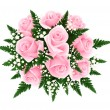 Stock Vector: Bouquet of pink roses with fern and gypsophila. Vector illustration.