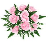 Bouquet of pink roses with fern and gypsophila. Vector illustration. — Stock Vector